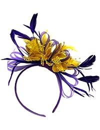 Cadbury neta Morado y dorado aro plumas Tocado para cabello diadema boda Royal Ascot de carreras