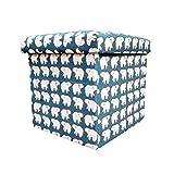 #4: Sterling Foldable Cotton Ottoman Storage Box Cum Stool - with Bear Pattern Foldable Stool