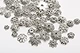 I LOVE DIY Argent Antique Tibétain coupelle Fleur Vieilli Spacer Perles (#11-150pcs)