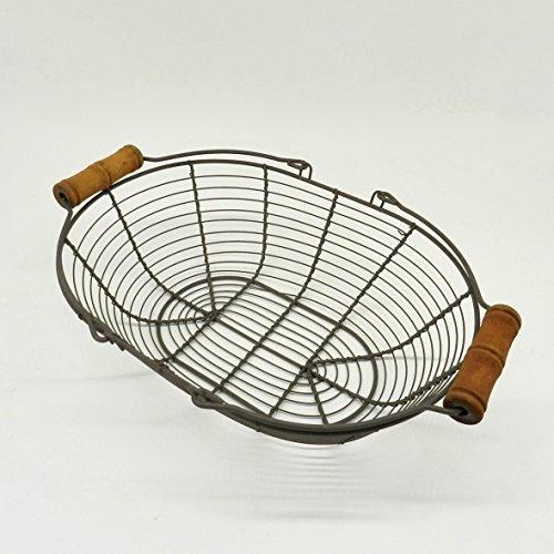 CVHOMEDECO. Ovale en métal Panier à œufs Fil Panier avec poignée en bois style vintage de campagne Panier de rangement. Rusty, L32.4 x W22.9 x H8.9 cm