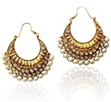 Chand bali earrings pearl hoops earrings...