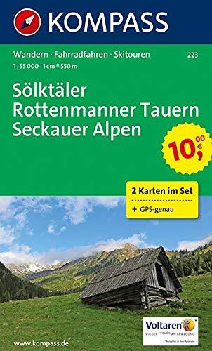 KOMPASS Wanderkarte Sölktäler - Rottenmanner Tauern - Seckauer Alpen: Wanderkarten-Set mit Radrotuen und Skitouren. GPS-genau. 1:550000: 2-delige Wandelkaart 1:55 000 (KOMPASS-Wanderkarten, Band 223)