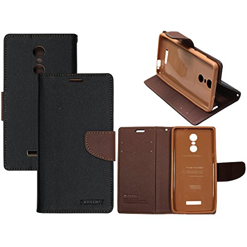 Casotec Mercury Fancy Diary Wallet Flip Case Cover for Xiaomi Redmi Note 3 - Black / Brown  available at amazon for Rs.349