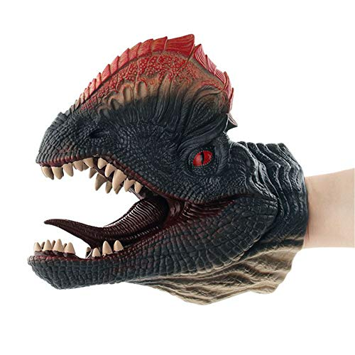 BuyCreativeLife™ Dinosaur Hand Puppet Realistic with Movable Mouth Role Play Toys for Children and Adults Kids Age 3+ Latex Rubber Puppets - Blue