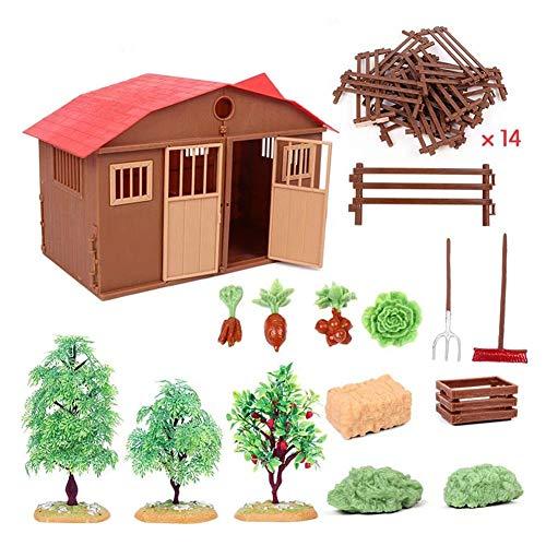 Bauernhof Puppenhaus DIY Kinder Spielzeug mit Hauszaun und anderem Zubehör umweltfreundlichen Kunststoff für simulierte Farm Farm Szene (Bauernhof Spielzeug Kinder Für)