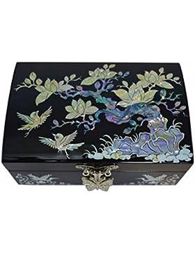 Kleines Schmuckkästchen schwarz lackiert mit natürlichen Perlmutt Zeichnung Pflaumen-Blüten Asian - Korean Handwerk