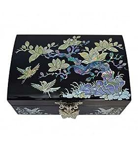 Petit Coffret à Bijoux Noir Laque, avec Dessin de Nacre Naturelle Fleurs de Pruniers Asiatique - Artisanat Coréen