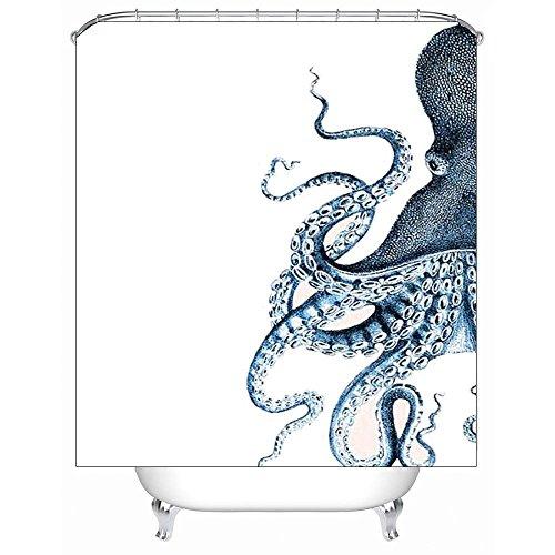 KQS-XYT Duschvorhang, wasserdicht Mildewproof Antibakterielle Bad Vorhänge, Polyester 3D Digital Print Cartoon Octopus Pattern, mit12 Kunststoff Haken, Mult Größen , @2 , 180 x 200 cm (Kunststoff-octopus Schimmel)