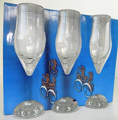 Fimel - Calice, flute tulipe en verre, lot de 3 pièces