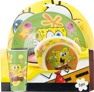 BBS 118829–Sponge Bob Jellyfish VFF Melamine Mealtime Set, 3Pieces
