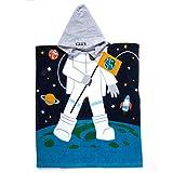 Florica Kinder Baumwolle Poncho Kapuzen Badetuch Bademantel Schwimmen Strand Tuch Weich Trocknend Cartoon für Mädchen Jungen (Astronaut, 140cm x 60cm)