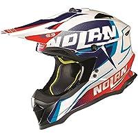 2018 Nolan N53 Sidewinder MX Casco Metal Blanco Motocross Off-Road Enduro Quad ATV