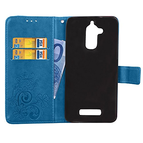Double Magnetic Back Sucktion Retro Style PU Leder Flip Stand Case mit Kickstand und Wallet Beutel Funktion für Asus ZenFone 3 Max ZC520TL ( Color : Gray ) Blue