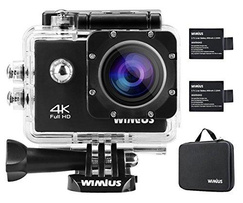 Camera Sport, WiMiUS Q1 Action Cam 4k Full HD 16MP WIFI Etanche 40M, Camera Embarquée Sport 170° Grand Angle Kit d'accessoires + 2 Batteries (Noir)