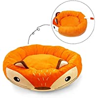 Whyyudan Cute Cartoon Animal Style Pet Nest Otoño Invierno Warm High-Elástico Algodón PP con Cremallera Extraíble Round Waterloo Dog Bed Cat Bed Mat (Color: Zorro Naranja, Talla: L)