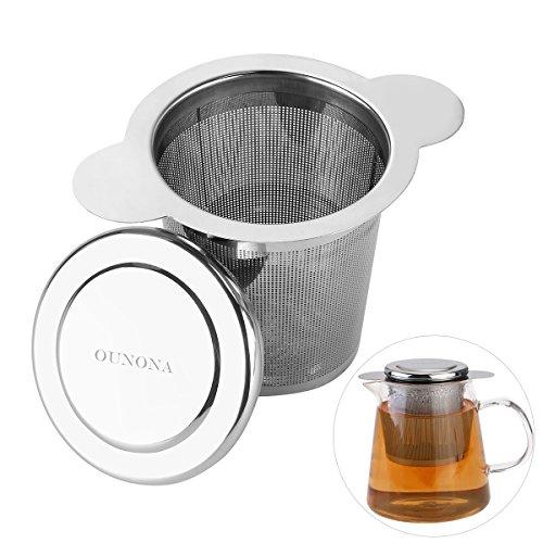 OUNONA Infusori per Tè Infusore Tè in Acciaio Inossidabile con coperchio per fogli staccabili grano tazze da tè, tazze, e Vasi