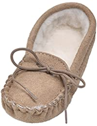 Lambland Girls - Boys Genuine Suede and Lambswool Moccasin Slippers with Soft Sole - Pink - Blue - Beige