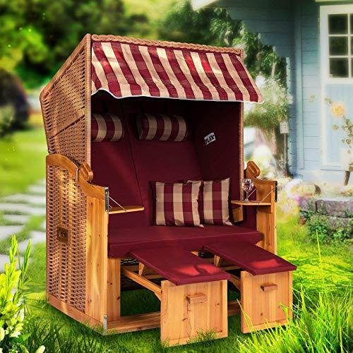 Möbelcreative Strandkorb Ostsee XXL Volllieger Poly-Rattan Garten-Möbel Holz 120cm Schutzhülle NBUA Burgund Natur kariert1 zerlegt -
