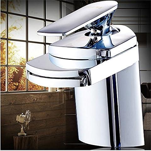 Furesnts casa moderna cocina y baño todo el cobre Grifo lavabo grifos cascada grifos lavabo moderno generalizada, caliente y fría, la altura de la sección,(Estándar G 1/2 puertos manguera universal)