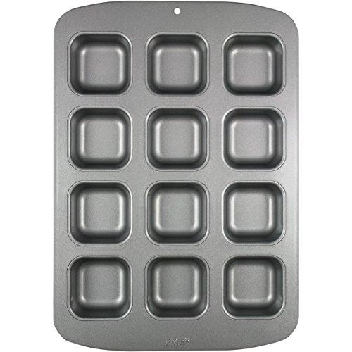 PME Molde para 12 Mini Pasteles Cuadrados de Acero al Carbono Antiadherente