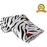 TRUSTFUL Microfiber Zebra Print with Red Rose Double Bed Reversible AC Blanket (TSF_050418_1942)