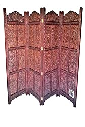 National Handicrafts 72 x 80, Fine Kashmiri Carving Wood Screen Partition / Room Divider / Seperator