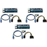 Longxi (lot de 3) 6broches Alimenté par port PCI-E Riser PCI Express–Ver 006C–1x vers 16x carte adaptateur PCIe USB 3.0–avec câble d'extension USB–carte graphique GPU Crypto Devise Mining