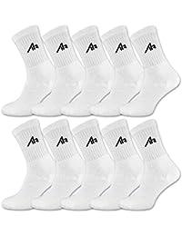 10 Paar i1R Damen & Herren Socken Sportsocken Tennissocken Baumwolle Schwarz oder Weiß (43-46, 10 Paar   Weiß)