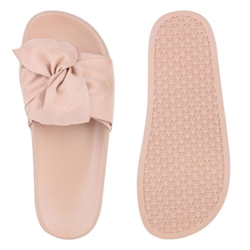 Damen Pantoletten Blumen Sandalen Strass Sommer Schuhe Rosa Rosa Schleife