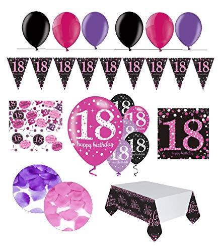 Feste Feiern Geburtstagsdeko 18. Geburtstag | 31 Teile Deko-Set Luftballon Wimpel Girlande Konfetti Serviette Tischdecke Pink Schwarz Violett metallic Party-Set