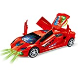 Super CAR Battery Operated Toy Car In Red With Opening Doors, Music And 3D DJ Lights In Back
