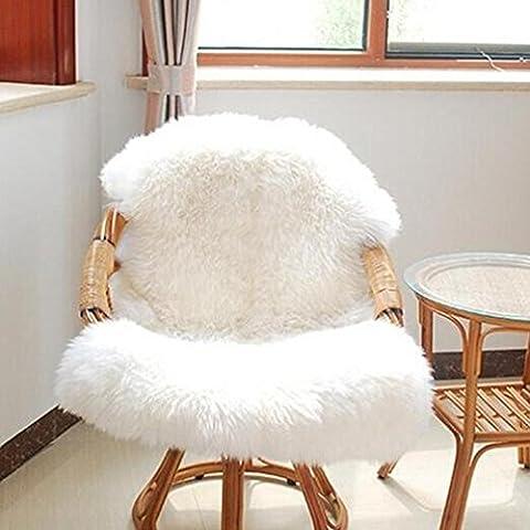 Housse de chaise Maistore Super Doux Housse de chaise imitation peau de mouton chaud Hairy Tapis Coussin de siège Uni Peau fourrure Uni Fluffy Zone Tapis lavable Tapis de chambre à coucher