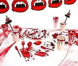 [OFERTA] Party Planet - Pack fiesta Halloween de 12 personas con accesorios decorativos y vajilla con diseño de sangre ideal para fiestas divertidas y terroríficas de Halloween - Juego de vajilla de plástico desechable para 12 personas - 157 piezas