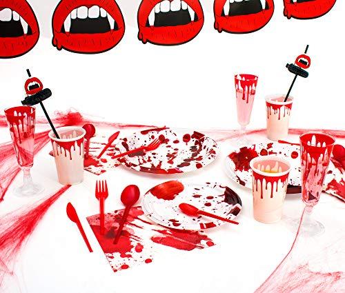 Party Planet - Packung Halloween-Party mit Geschirr und Dekorationsartikeln mit Blut Design Ideal für Spaß und gruseligen Halloween-Party - Set von Geschirr, Gläsern, Servietten und Einweg-Plastikdekoration 12-157 Stück ... (Für Halloween Gruselig-designs)