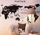 """ufengke® """"Viaggiare In Tutto Il Mondo"""" Mappa del Mondo Adesivi Murali, Camera da Letto Soggiorno Adesivi da Parete Removibili/Stickers Murali/Decorazione Murale, B"""