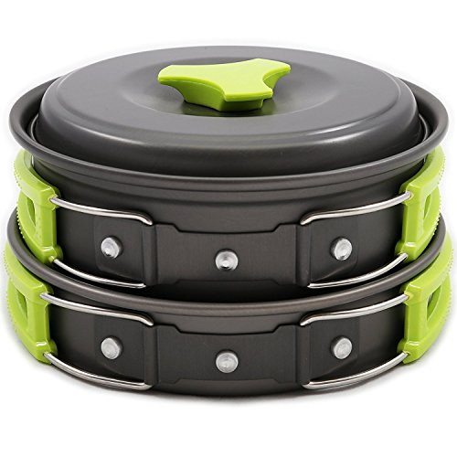 Little World Camping Cookware Portable Hiking Ultra Kit 9 Pcs for 1 to 2 Persons