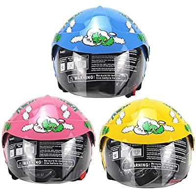 Four Seasons Personality Children's Helmet Outdoor Safety Helmet Motorcycle Harley Battery Car Men and Women Baby Safety Helmet Suitable Kids Aged 2-8 (Yellow,Blue,Pink) from AHP HELMETS