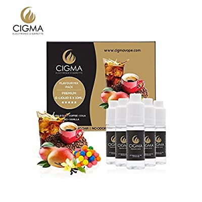CIGMA 5 X 10ml E-Liquid Flavour Pack Bubble Gum Cola Coffee Mango Vanilla New Premium Quality Formula with Only High-Grade Ingredients For Electronic Cigarette and E Shisha Mix Flavour by Cigma