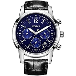 HOWK Men's Date Chronograph Quartz Watch with Luminous Analogue Display and Black Leather Strap