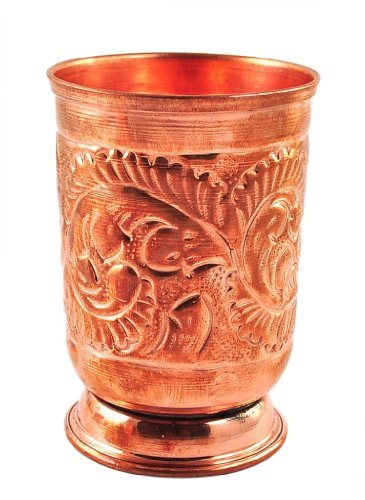 handmade pure Copper glass cup for water india by Karmakara
