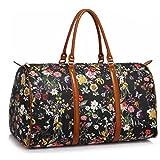 LeahWard® Damen Große Größe Tragetaschen Reise Handtaschen Groß Marke nett Schultertaschen 41412 (Schwarz Blumendruck)