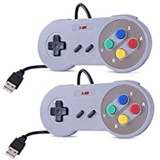 HDE SNES USB Controller Retro Styled Super Nintendo Gamepad for PC / Mac / Windows / Linux / Raspberry Pi (Two Pack)