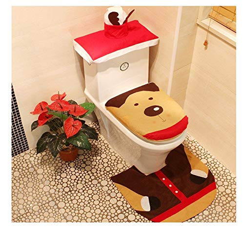 Piccoli monelli set bagno natalizio copriwater tappeto copri sciacquone 3 pz colore beige marrone rosso