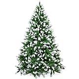 Künstlicher Weihnachtsbaum 210cm in Premium Spritzguss Qualität, angeschneite Douglastanne, Tannenbaum mit PE Kunststoff Nadeln, Douglasie Christbaum im beschneit Design