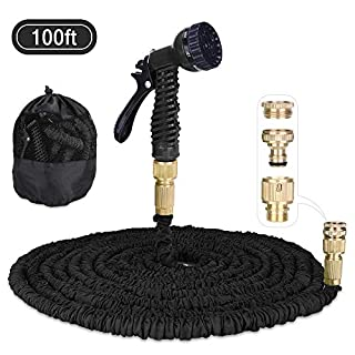 Garden Hose, Aulola® Expandable Water Pipe 3 Times Expanding 100ft Magic Water Hose with Extra Strength Fabric and 7 Function Spray Gun(Black)