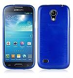 Cadorabo Hülle für Samsung Galaxy S4 Mini - Hülle in BLAU – Handyhülle aus TPU Silikon in gebürsteter Edelstahloptik (Brushed) Silikonhülle Schutzhülle Soft Back Cover Case Bumper