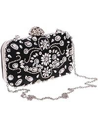 MagiDeal Luxury Woman Lady Rhinestone Messenger Clutch Bag Shoulder Chain Handbag Purse - black
