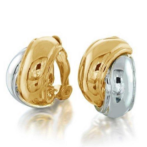 Zwei Ton Verriegelung Kreis Dome Hälfte Hoop Creolen Ohrclips Ohrringe Nicht Durchbohrt Silber Ton 14K Vergoldet Messing