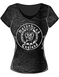 Rockoff Trade Damen T-Shirt England Seal Acid Wash, Schwarz