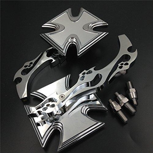 Malteser Kreuz Emblem Flamme Stil Motorrad verchromtem Billet Custom Running Acryl Spiegel universal passend für alle HONDA KAWASAKI suzuku Cruiser Bike Modelle von HTT (Flamme Motorrad Spiegel)